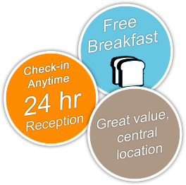 Free breakfast; check-in anytime, 24 hr reception; Great value, central location.